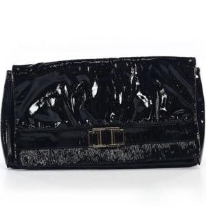 NEW AUTH Charles David Solid Black Clutch
